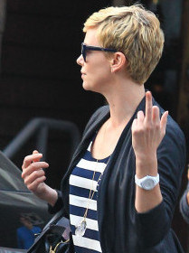 Charlize Theron's Middle Finger